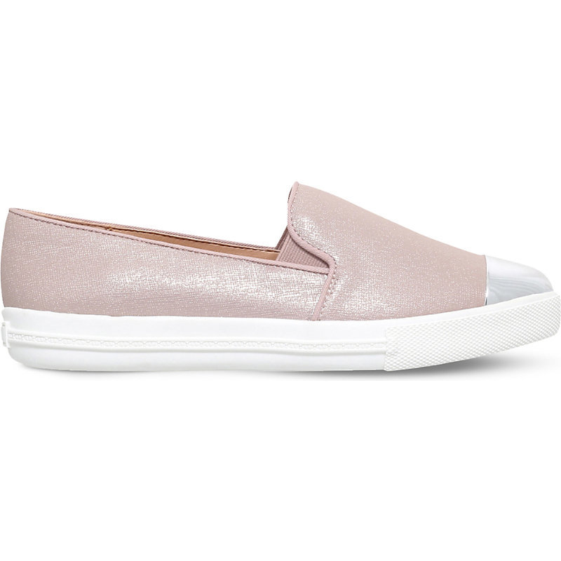 Lanette Textured Metallic Trainers, Women's, Eur 39 / 6 Uk Women, Pale Pink - predominant colour: blush; secondary colour: silver; occasions: casual; material: leather; heel height: flat; toe: round toe; finish: plain; pattern: colourblock; shoe detail: moulded soul; style: skate shoes; season: s/s 2016; wardrobe: highlight
