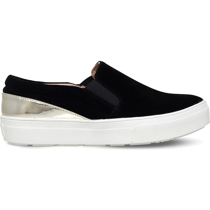 Layton Mirrored Velvet Skate Shoes, Women's, Eur 41 / 8 Uk Women, Black - secondary colour: gold; predominant colour: black; occasions: casual; material: velvet; heel height: flat; toe: round toe; finish: plain; pattern: colourblock; shoe detail: moulded soul; style: skate shoes; season: s/s 2016; wardrobe: highlight