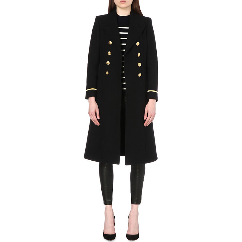 Double Breasted Virgin Wool Military Coat, Women's, Noir - pattern: plain; shoulder detail: shoulder pads; style: double breasted military coat; collar: standard lapel/rever collar; predominant colour: black; occasions: casual, work, creative work; fit: tailored/fitted; fibres: wool - 100%; length: below the knee; sleeve length: long sleeve; sleeve style: standard; collar break: medium; pattern type: fabric; texture group: woven bulky/heavy; season: s/s 2016; wardrobe: basic