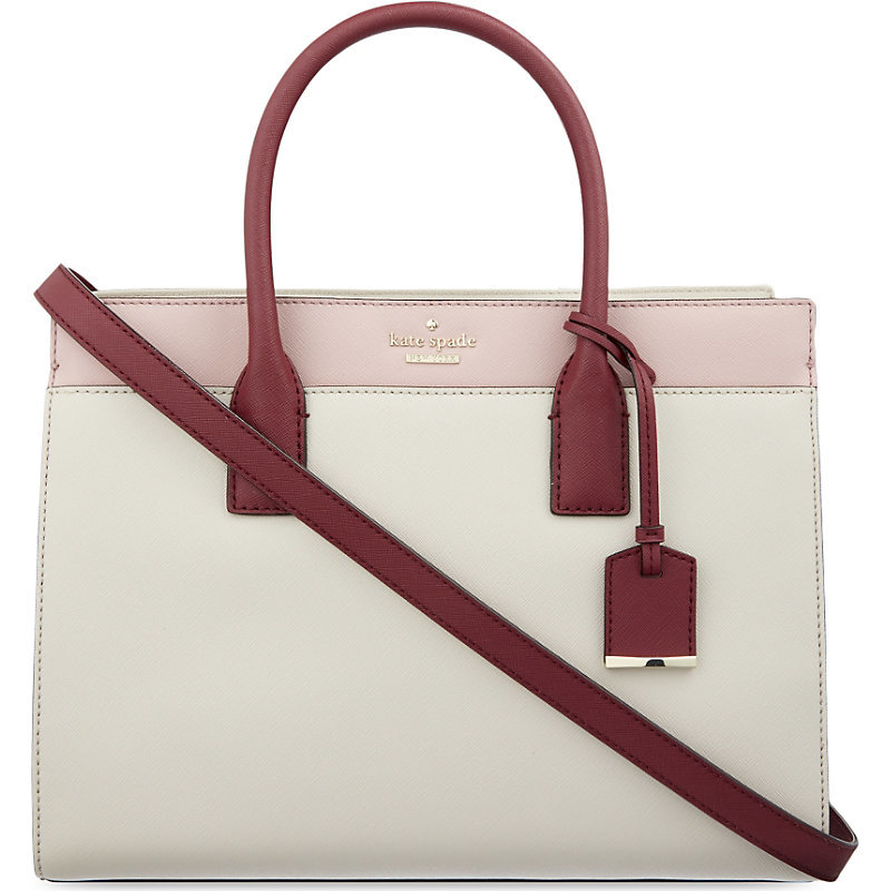 Cameron Street Candace Leather Satchel, Women's, Pink Bonnet - secondary colour: burgundy; occasions: casual, work, creative work; type of pattern: light; style: tote; length: handle; size: standard; material: leather; pattern: plain; finish: plain; predominant colour: dusky pink; season: s/s 2016; wardrobe: highlight