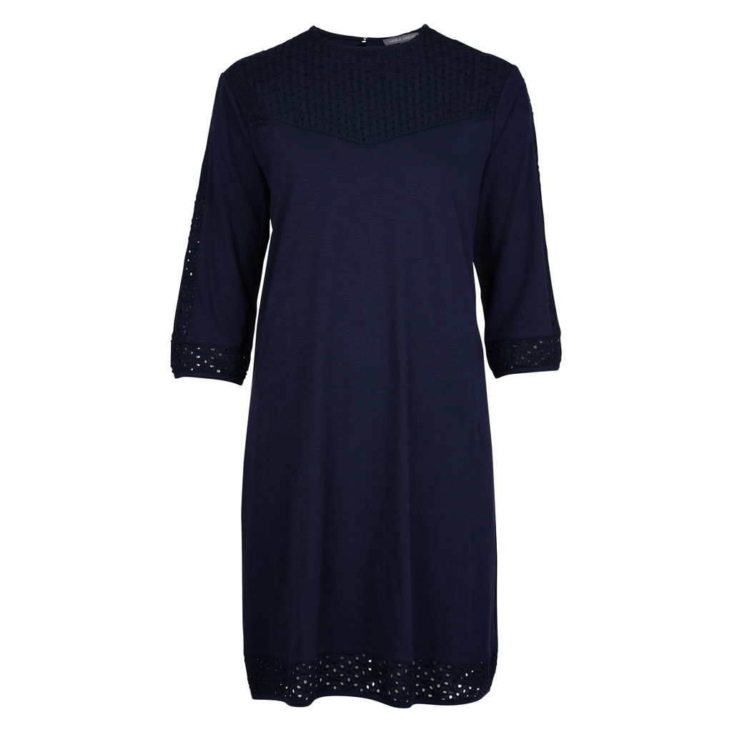Cutwork Broderie Jersey Tunic - style: tunic; pattern: plain; predominant colour: navy; occasions: casual; length: just above the knee; fit: body skimming; fibres: cotton - 100%; neckline: crew; sleeve length: half sleeve; sleeve style: standard; pattern type: fabric; texture group: jersey - stretchy/drapey; season: s/s 2016; wardrobe: basic