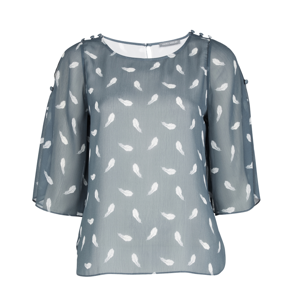 Leaf Print Cold Shoulder Blouse - style: blouse; secondary colour: white; predominant colour: mid grey; occasions: casual; length: standard; fibres: polyester/polyamide - 100%; fit: body skimming; neckline: crew; sleeve length: 3/4 length; sleeve style: standard; pattern type: fabric; pattern: patterned/print; texture group: other - light to midweight; multicoloured: multicoloured; season: s/s 2016; wardrobe: highlight