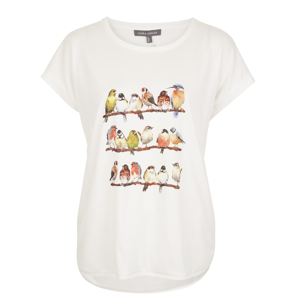 Garden Birds T Shirt - style: t-shirt; predominant colour: white; secondary colour: burgundy; occasions: casual; length: standard; fibres: cotton - 100%; fit: body skimming; neckline: crew; sleeve length: 3/4 length; sleeve style: standard; pattern type: fabric; pattern: patterned/print; texture group: jersey - stretchy/drapey; season: s/s 2016; wardrobe: highlight