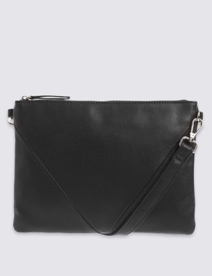 Panelled Across Body Bag - predominant colour: black; occasions: casual, creative work; type of pattern: standard; style: messenger; length: across body/long; size: standard; material: faux leather; pattern: plain; finish: plain; season: s/s 2016