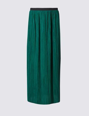 Plisse Rippled Pencil Skirt - pattern: plain; length: ankle length; style: pleated; waist: high rise; predominant colour: emerald green; secondary colour: black; occasions: casual; fibres: polyester/polyamide - 100%; fit: straight cut; pattern type: fabric; texture group: other - light to midweight; season: s/s 2016