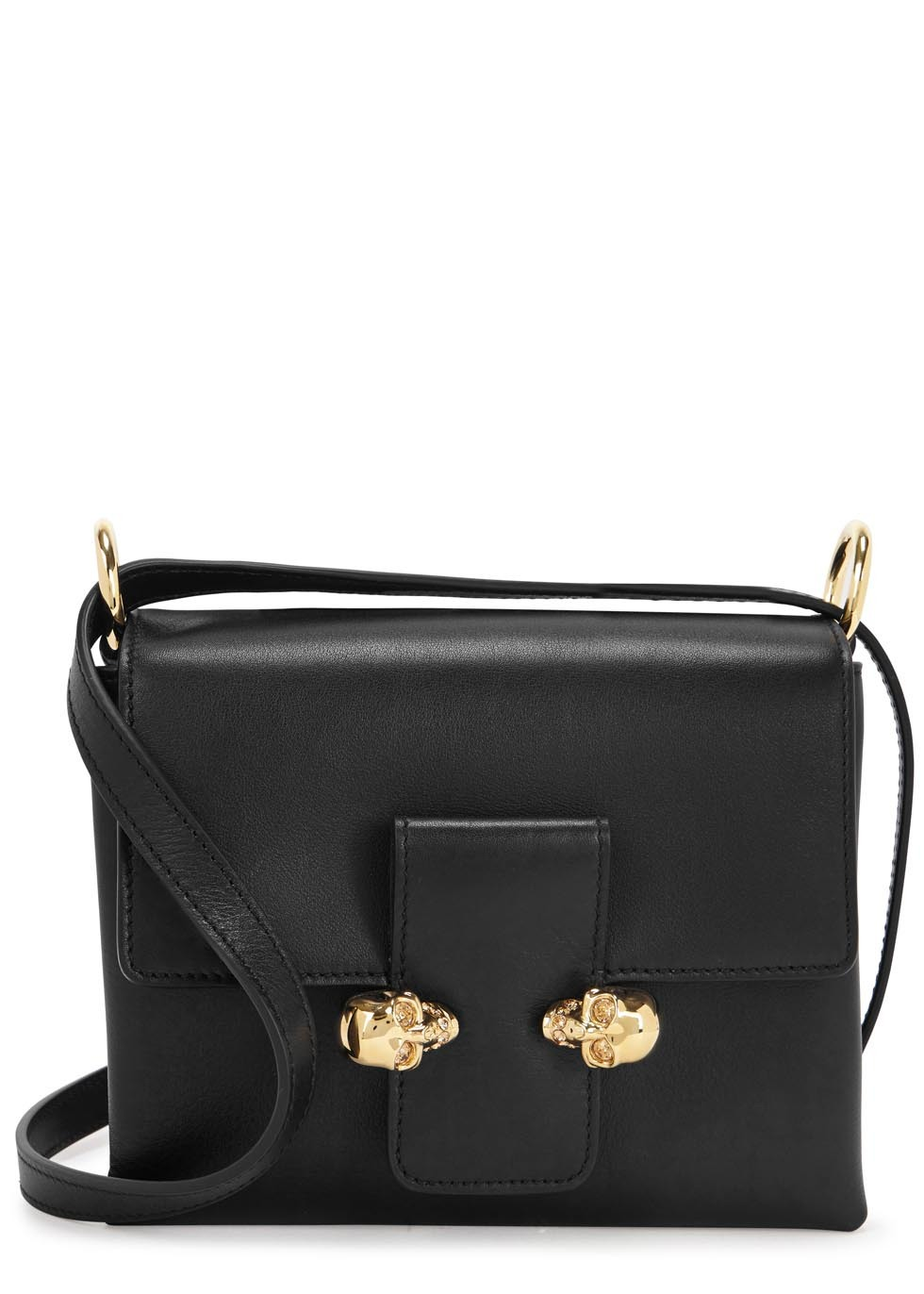 Black Leather Skull Embellished Cross Body Bag - secondary colour: gold; predominant colour: black; occasions: casual; type of pattern: standard; style: messenger; length: across body/long; size: small; material: leather; pattern: plain; finish: plain; season: s/s 2016; wardrobe: basic