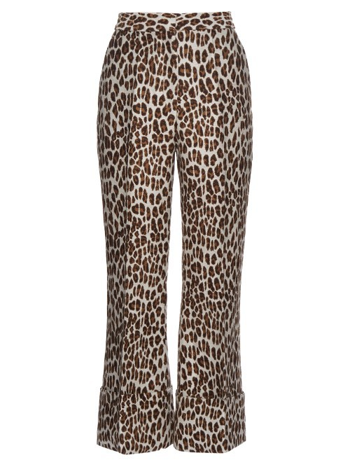 Leopard Print Wool Blend Cropped Trousers - length: standard; waist: mid/regular rise; predominant colour: ivory/cream; secondary colour: chocolate brown; occasions: evening; fibres: cotton - stretch; fit: flares; pattern type: fabric; pattern: animal print; texture group: woven light midweight; style: standard; multicoloured: multicoloured; season: s/s 2016; wardrobe: event