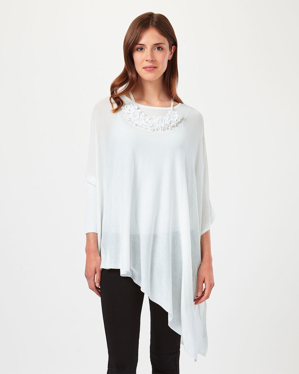 Nieve Necklace Knit - neckline: round neck; pattern: plain; length: below the bottom; predominant colour: white; occasions: casual; style: top; fibres: polyester/polyamide - 100%; fit: loose; sleeve length: 3/4 length; sleeve style: standard; pattern type: fabric; texture group: jersey - stretchy/drapey; season: s/s 2016; wardrobe: basic