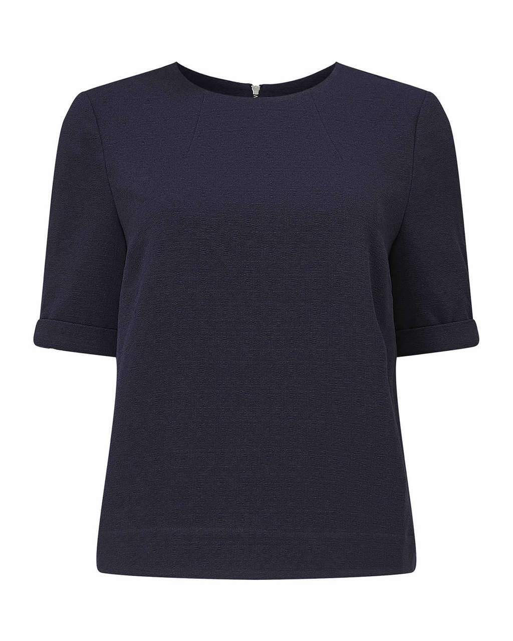 Dalia Crepe Zip Back Top - pattern: plain; style: t-shirt; predominant colour: navy; length: standard; fibres: polyester/polyamide - 100%; fit: straight cut; neckline: crew; sleeve length: short sleeve; sleeve style: standard; texture group: crepes; pattern type: fabric; occasions: creative work; season: s/s 2016; wardrobe: basic