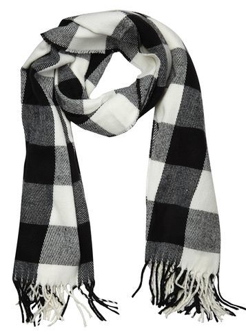 Womens Monochrome Gingham Check Scarf Black - predominant colour: black; occasions: casual; type of pattern: heavy; style: regular; size: standard; material: fabric; embellishment: fringing; pattern: checked/gingham; season: s/s 2016; wardrobe: highlight