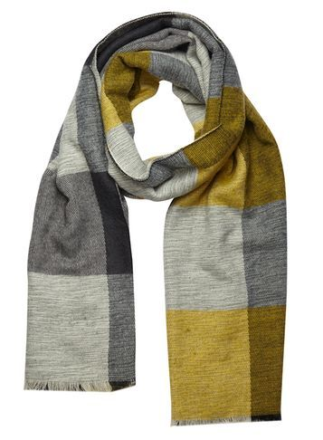 Womens Lime Grey Stripe Scarf Green - secondary colour: lime; predominant colour: mid grey; occasions: casual, creative work; type of pattern: standard; style: regular; size: standard; material: fabric; pattern: colourblock; season: s/s 2016