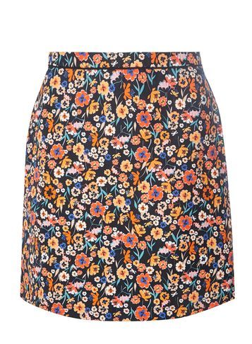 Womens Black And Pink Floral A Line Skirt Black And Pink - length: mid thigh; fit: loose/voluminous; waist: high rise; predominant colour: bright orange; occasions: casual, creative work; style: a-line; fibres: cotton - 100%; texture group: cotton feel fabrics; pattern type: fabric; pattern: florals; pattern size: big & busy (bottom); multicoloured: multicoloured; season: s/s 2016; wardrobe: highlight