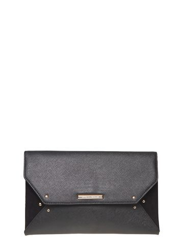 Womens Black Stud Clutch Bag Black - predominant colour: black; occasions: evening, occasion; type of pattern: standard; style: clutch; length: hand carry; size: small; material: faux leather; pattern: plain; finish: plain; season: s/s 2016; wardrobe: event