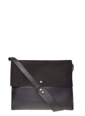Womens Black Faux Suede Crossbody Bag Black - predominant colour: black; occasions: casual; type of pattern: standard; style: messenger; length: across body/long; size: standard; material: faux leather; pattern: plain; finish: plain; season: s/s 2016; wardrobe: basic