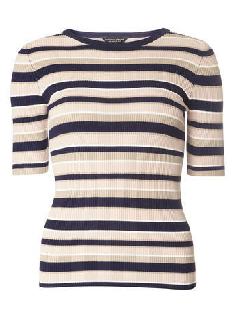 Womens Multi Coloured Pretty Stripe Tee Multi - neckline: round neck; pattern: horizontal stripes; style: t-shirt; predominant colour: ivory/cream; secondary colour: black; occasions: casual, creative work; length: standard; fit: body skimming; sleeve length: half sleeve; sleeve style: standard; pattern type: fabric; texture group: jersey - stretchy/drapey; fibres: viscose/rayon - mix; pattern size: big & busy (top); multicoloured: multicoloured; season: s/s 2016; wardrobe: basic