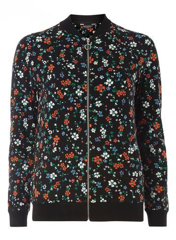 Womens Black Ditsy Print Bomber Jacket Black - collar: round collar/collarless; style: bomber; secondary colour: bright orange; predominant colour: black; occasions: casual, creative work; length: standard; fit: straight cut (boxy); fibres: polyester/polyamide - 100%; sleeve length: long sleeve; sleeve style: standard; collar break: high; pattern type: fabric; pattern size: standard; pattern: florals; texture group: woven light midweight; multicoloured: multicoloured; season: s/s 2016; wardrobe: highlight