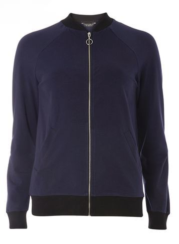 Womens Navy Zip Front Bomber Jacket Blue - pattern: plain; collar: round collar/collarless; style: bomber; predominant colour: navy; occasions: casual; length: standard; fit: straight cut (boxy); fibres: polyester/polyamide - 100%; sleeve length: long sleeve; sleeve style: standard; texture group: crepes; collar break: high; pattern type: fabric; season: s/s 2016; wardrobe: basic