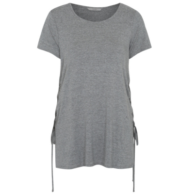 Lace Up Detail T Shirt Light Grey - neckline: round neck; sleeve style: puffed; pattern: plain; length: below the bottom; predominant colour: mid grey; occasions: casual; style: top; fibres: viscose/rayon - stretch; fit: body skimming; sleeve length: short sleeve; pattern type: fabric; texture group: jersey - stretchy/drapey; season: s/s 2016; wardrobe: basic