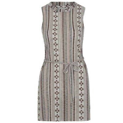 Multi Print Tunic - neckline: round neck; sleeve style: sleeveless; pattern: striped; style: tunic; waist detail: belted waist/tie at waist/drawstring; predominant colour: light grey; occasions: casual, creative work; fibres: polyester/polyamide - 100%; fit: body skimming; length: mid thigh; sleeve length: sleeveless; pattern type: fabric; texture group: jersey - stretchy/drapey; pattern size: big & busy (top); season: s/s 2016; wardrobe: highlight