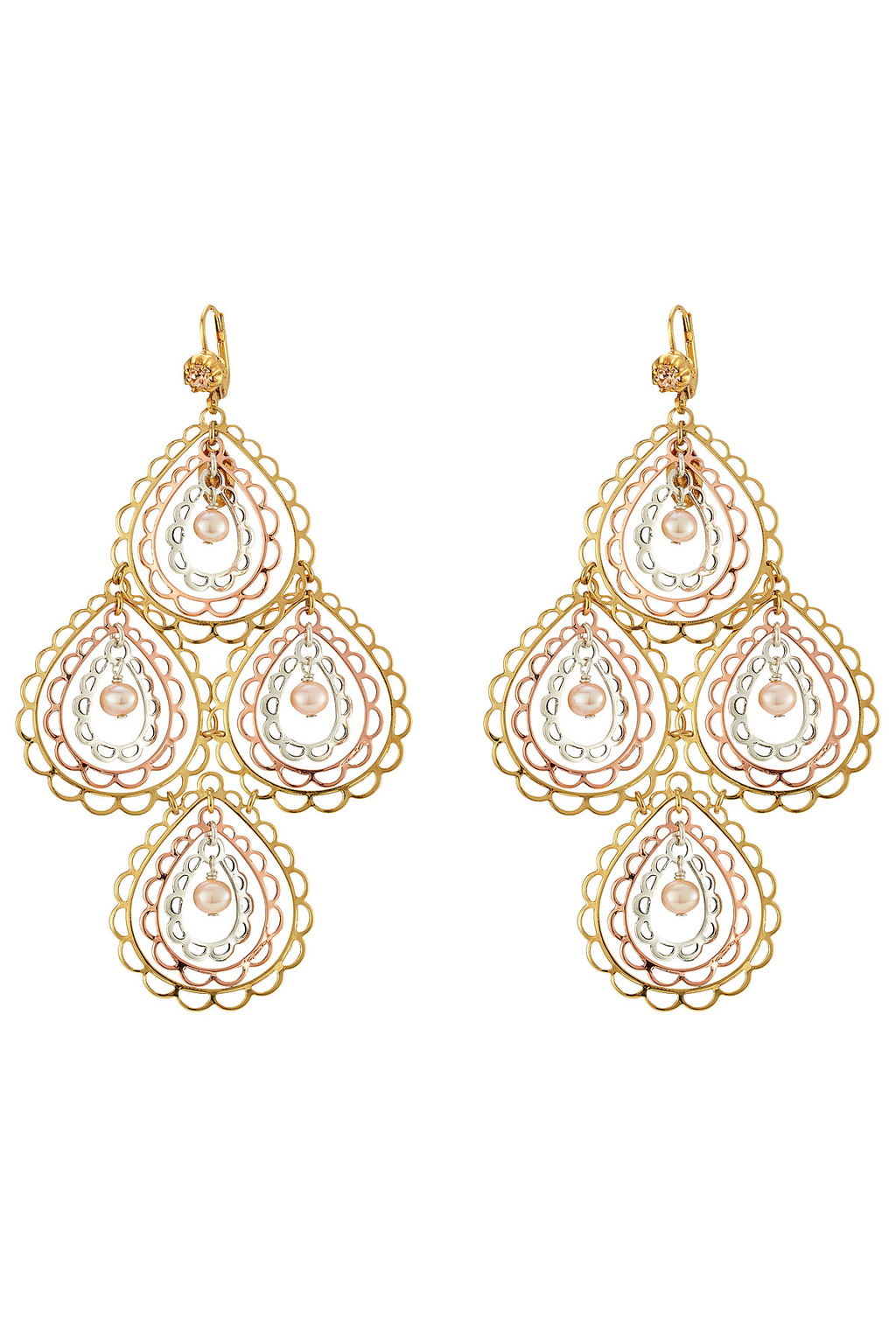 Songe Large 24kt Gold And Silver Plated Chandelier Earrings Pink - secondary colour: pink; predominant colour: gold; occasions: evening, occasion, holiday; style: chandelier; length: mid; size: large/oversized; material: chain/metal; fastening: pierced; finish: metallic; embellishment: jewels/stone; season: s/s 2016; wardrobe: highlight