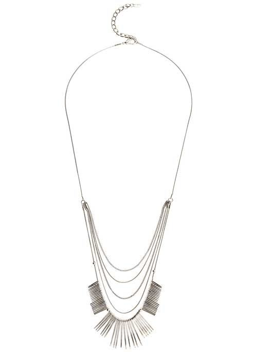 Layered Spike Necklace - predominant colour: silver; occasions: casual; style: multistrand; length: long; size: standard; material: chain/metal; finish: metallic; season: s/s 2016; wardrobe: highlight