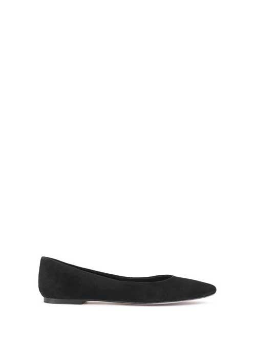Black Nika Pointed Ballet Pump - predominant colour: black; occasions: casual; material: leather; heel height: flat; toe: pointed toe; style: ballerinas / pumps; finish: plain; pattern: plain; season: s/s 2016