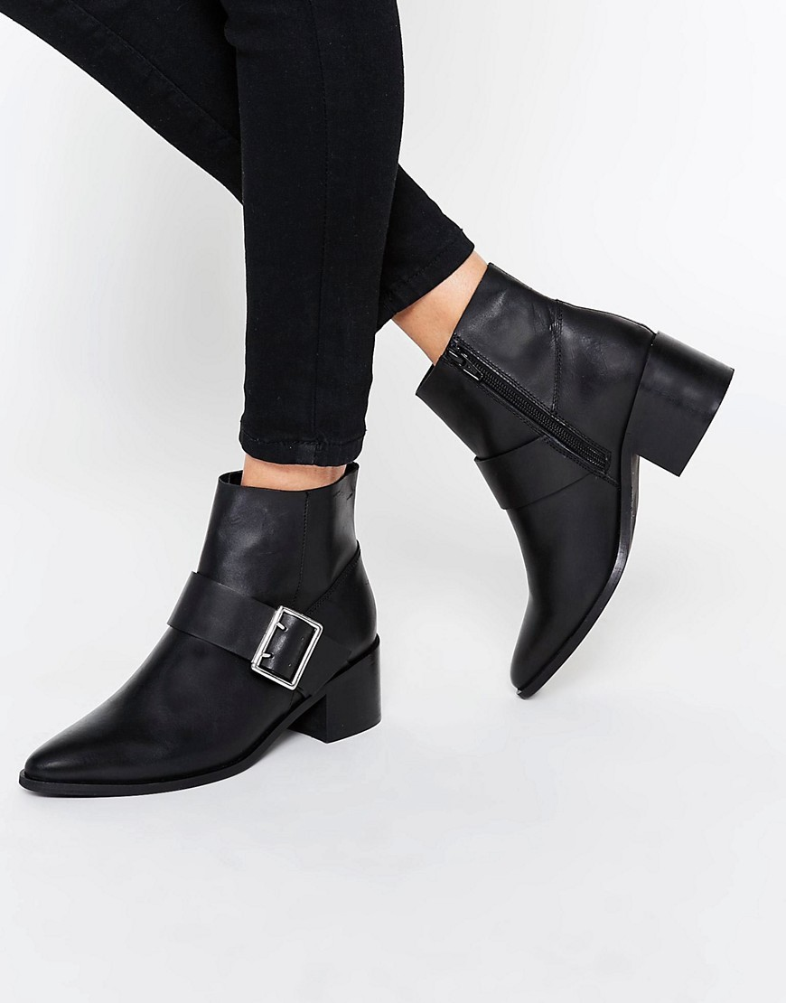 Rally Leather Buckle Ankle Boots Black Leather - predominant colour: black; occasions: casual, creative work; material: leather; heel height: mid; embellishment: buckles; heel: block; toe: pointed toe; boot length: ankle boot; style: standard; finish: plain; pattern: plain; season: s/s 2016; wardrobe: basic