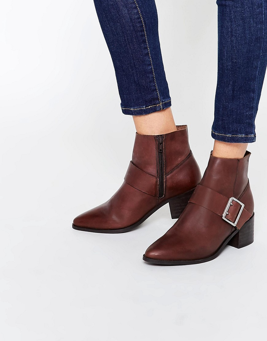 Rally Leather Buckle Ankle Boots Choc Leather - predominant colour: burgundy; occasions: casual, creative work; material: leather; heel height: mid; embellishment: buckles; heel: block; toe: pointed toe; boot length: ankle boot; style: standard; finish: plain; pattern: plain; season: s/s 2016; wardrobe: highlight