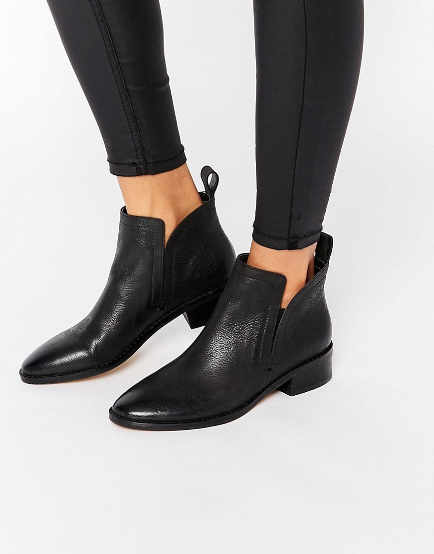 Tessey Leather Heeled Ankle Boots Black Leather - predominant colour: black; occasions: casual, creative work; material: leather; heel height: flat; heel: block; toe: round toe; boot length: ankle boot; style: standard; finish: plain; pattern: plain; season: s/s 2016; wardrobe: basic