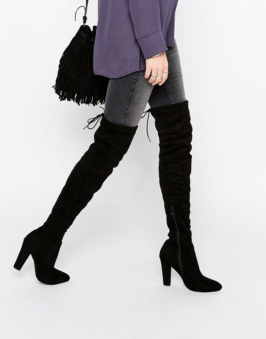 Olivia Tie Back Heeled Thigh High Boots Black Suede - predominant colour: black; occasions: casual, creative work; material: suede; heel height: high; heel: block; toe: pointed toe; boot length: over the knee; style: standard; finish: plain; pattern: plain; season: s/s 2016; wardrobe: investment