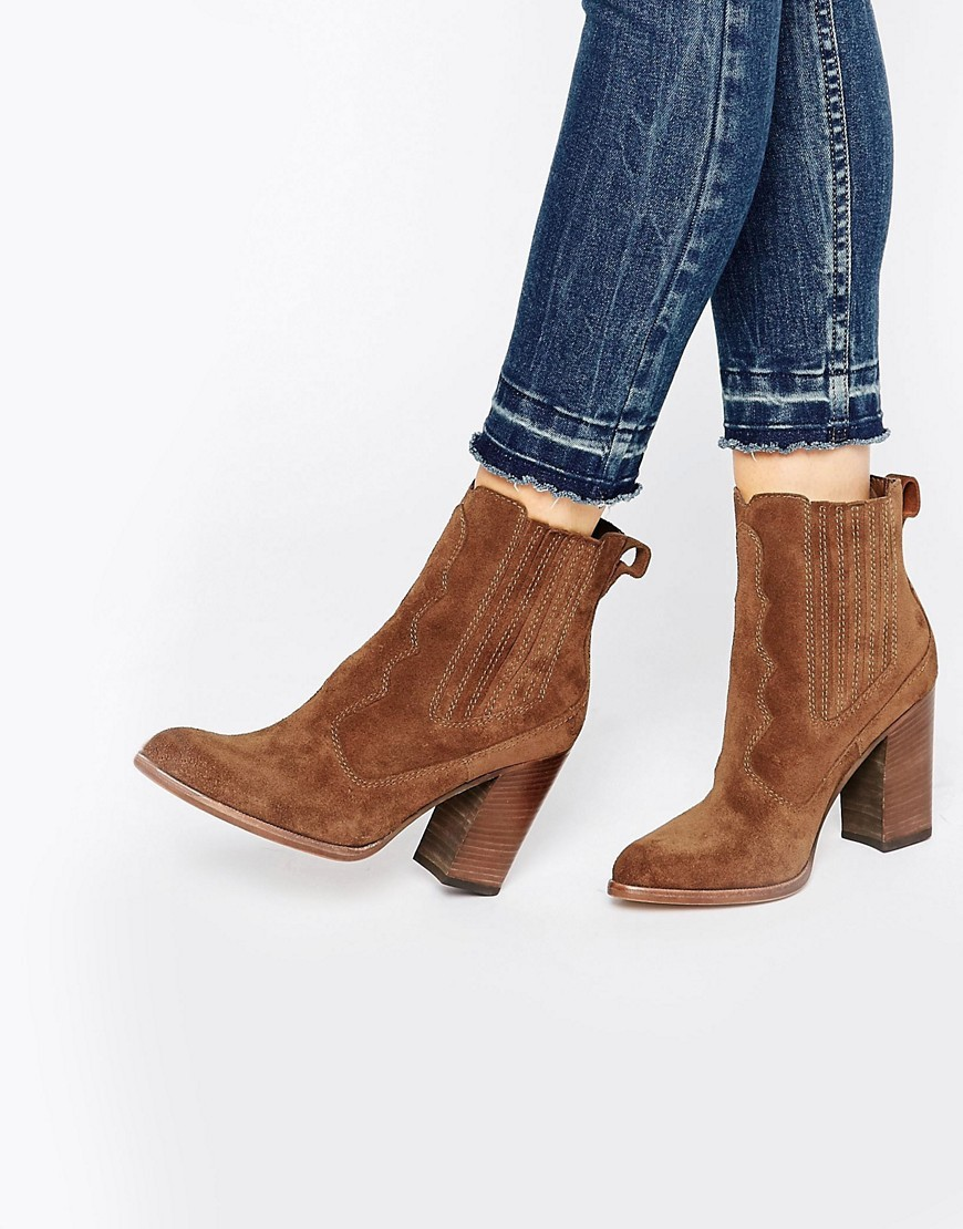 Conway Suede Stack Heeled Ankle Boots Acorn Suede - predominant colour: tan; occasions: casual, creative work; material: suede; heel height: high; heel: block; toe: round toe; boot length: ankle boot; style: high top; finish: plain; pattern: plain; season: s/s 2016