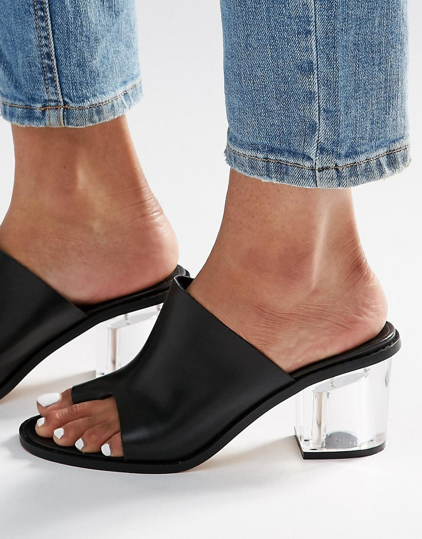 Talk Leather Mule Black/Perspex - predominant colour: black; occasions: evening, occasion; material: leather; heel height: mid; heel: block; toe: open toe/peeptoe; style: mules; finish: plain; pattern: plain; season: s/s 2016; wardrobe: event