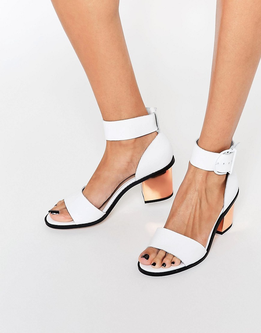 Taker Two Part Leather Sandals White - predominant colour: white; secondary colour: gold; occasions: casual; material: leather; heel height: mid; ankle detail: ankle tie; heel: block; toe: open toe/peeptoe; style: standard; finish: plain; pattern: plain; multicoloured: multicoloured; season: s/s 2016; wardrobe: investment