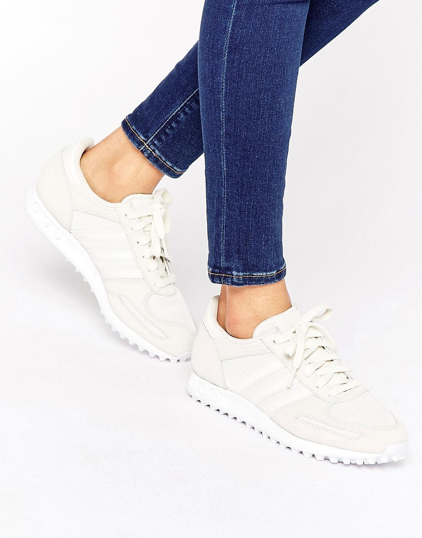 Originals Cream And Sand La Trainers White - predominant colour: ivory/cream; occasions: casual; material: leather; heel height: flat; toe: round toe; style: trainers; finish: plain; pattern: plain; season: s/s 2016; wardrobe: basic