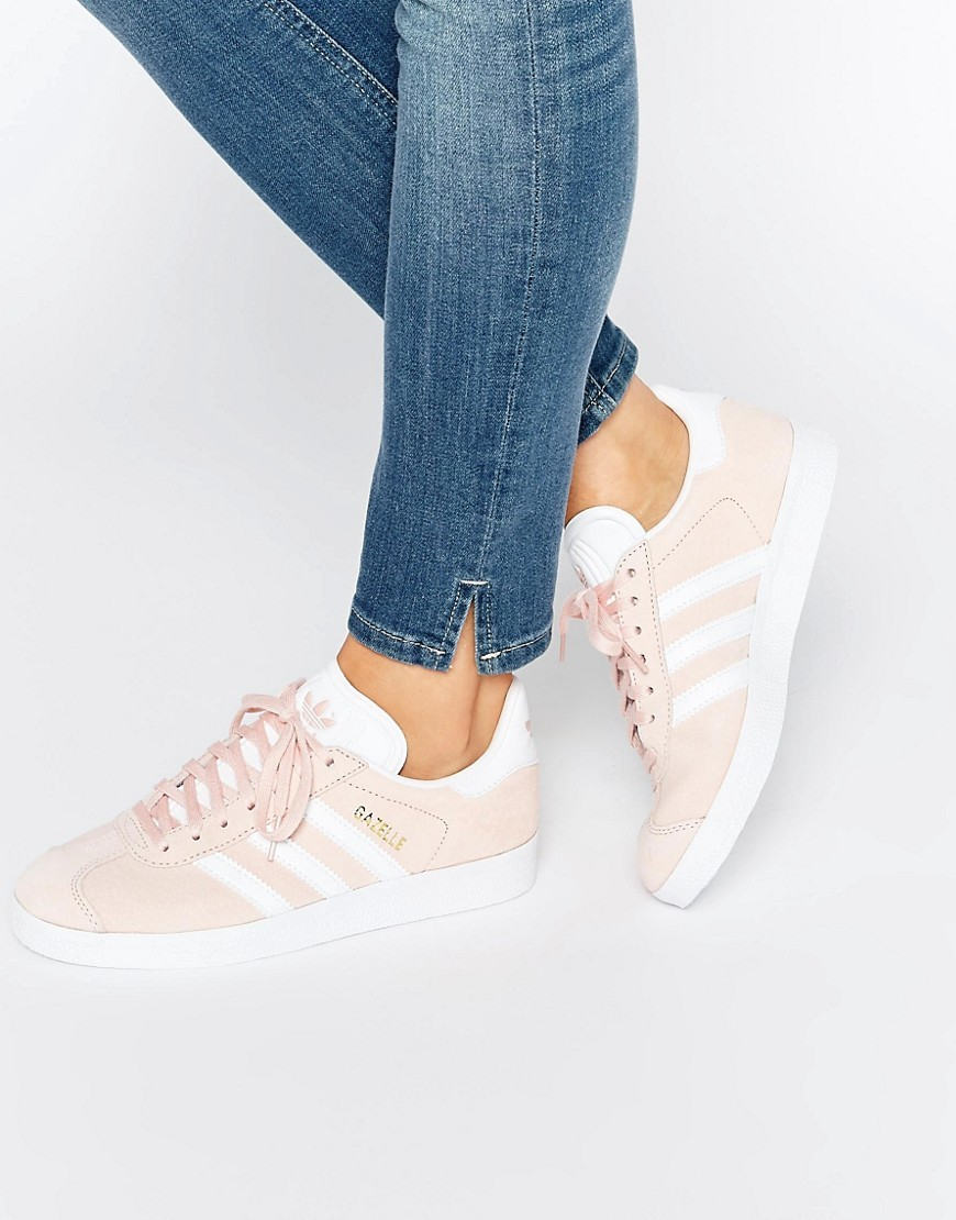 Originals Pink Suede Gazelle Trainers Pink - secondary colour: white; predominant colour: blush; occasions: casual; material: suede; heel height: flat; toe: round toe; style: trainers; finish: plain; pattern: plain; season: s/s 2016; wardrobe: basic