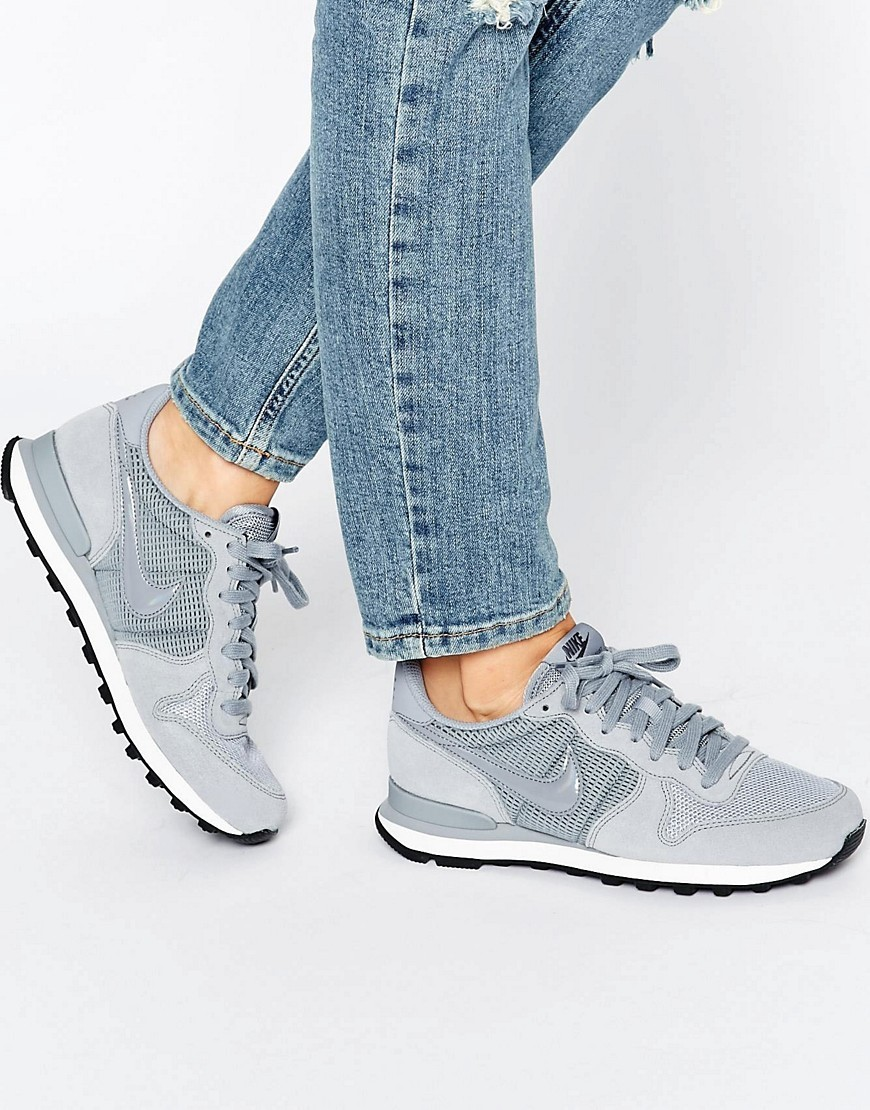Internationalist Trainers In Grey Stealth/Stlth Drk Gr - predominant colour: mid grey; occasions: casual; material: suede; heel height: flat; toe: round toe; style: trainers; finish: plain; pattern: plain; shoe detail: tread; season: s/s 2016; wardrobe: highlight