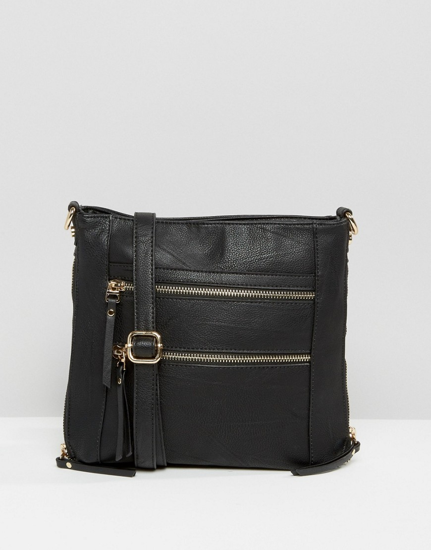 Multi Zip Cross Body Bag Black - predominant colour: black; occasions: casual, creative work; type of pattern: light; style: messenger; length: across body/long; size: standard; material: faux leather; pattern: plain; finish: plain; season: s/s 2016; wardrobe: basic