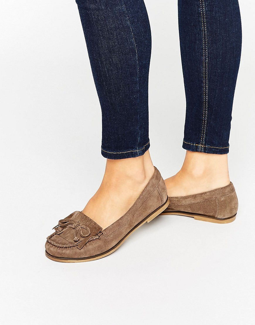 Mock Moccasin Suede Flat Shoes Grey/Other Suede - predominant colour: chocolate brown; occasions: casual, creative work; material: suede; heel height: flat; toe: round toe; style: moccasins; finish: plain; pattern: plain; embellishment: fringing; season: s/s 2016; wardrobe: basic