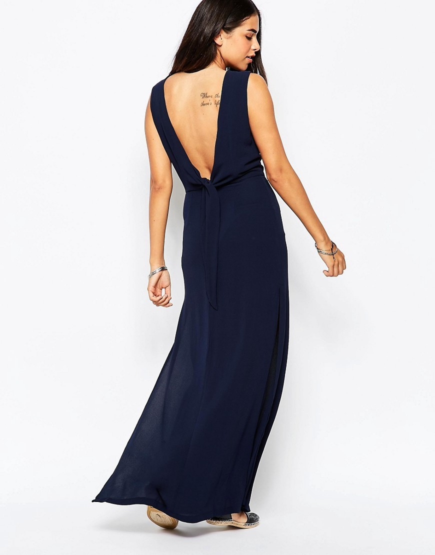 Over Exposed Maxi Dress Navy - neckline: slash/boat neckline; fit: empire; pattern: plain; sleeve style: sleeveless; style: maxi dress; length: ankle length; back detail: back revealing; predominant colour: navy; occasions: evening, occasion; fibres: polyester/polyamide - 100%; sleeve length: sleeveless; texture group: sheer fabrics/chiffon/organza etc.; pattern type: fabric; season: s/s 2016; wardrobe: event