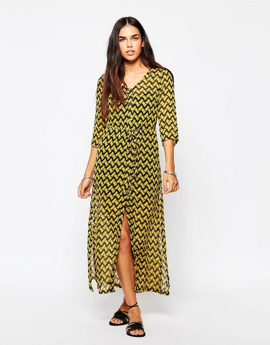 Karley Dress In Sketch Print Multi - style: faux wrap/wrap; neckline: v-neck; length: ankle length; waist detail: belted waist/tie at waist/drawstring; predominant colour: yellow; secondary colour: black; occasions: evening; fit: body skimming; fibres: polyester/polyamide - 100%; sleeve length: 3/4 length; sleeve style: standard; pattern type: fabric; pattern: patterned/print; texture group: other - light to midweight; multicoloured: multicoloured; season: s/s 2016