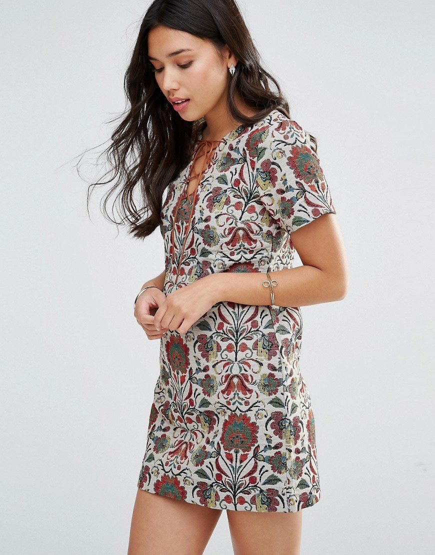 Mini Tapestry Dress Multi - style: shift; length: mini; predominant colour: white; secondary colour: mid grey; occasions: casual; fit: body skimming; fibres: polyester/polyamide - mix; neckline: crew; sleeve length: short sleeve; sleeve style: standard; pattern type: fabric; pattern size: big & busy; pattern: florals; texture group: other - light to midweight; multicoloured: multicoloured; season: s/s 2016; wardrobe: highlight