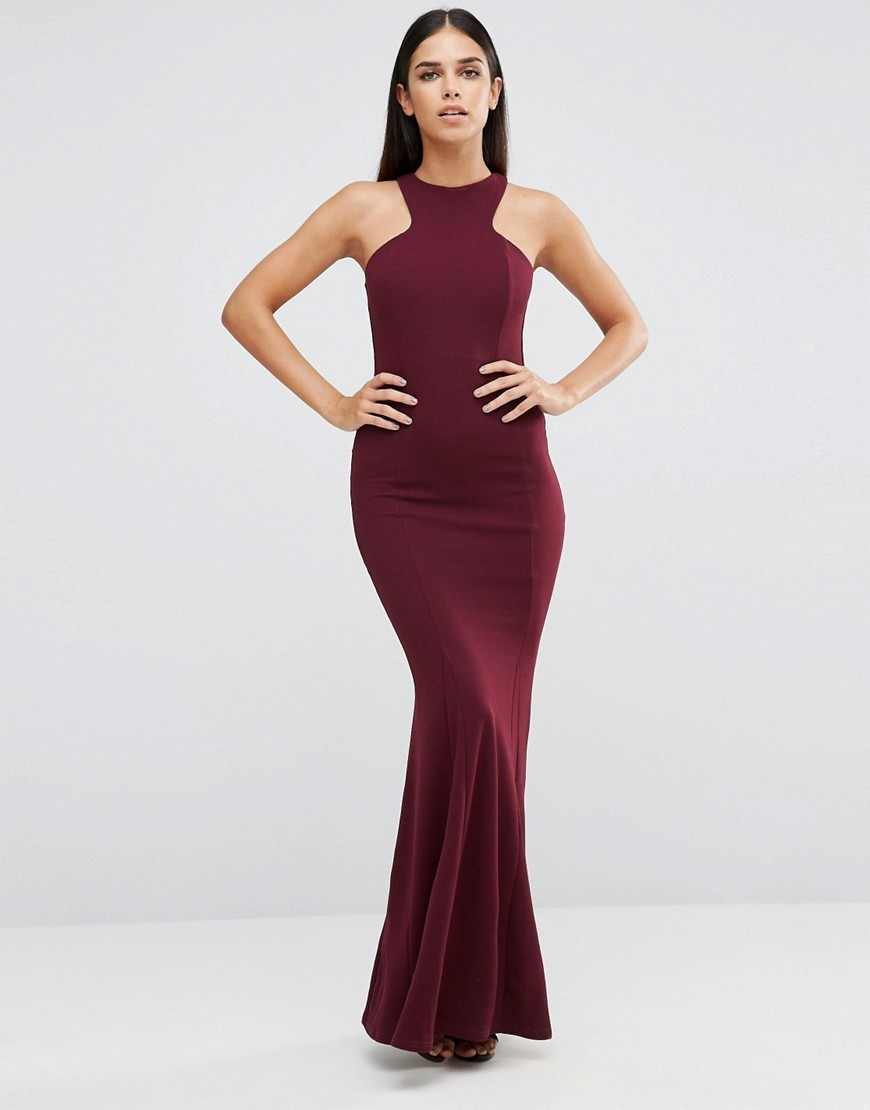 Racer Front Maxi Dress In Crepe Deep Purple (168) - fit: tight; pattern: plain; sleeve style: sleeveless; style: bodycon; predominant colour: burgundy; occasions: evening; length: floor length; fibres: polyester/polyamide - stretch; neckline: crew; sleeve length: sleeveless; texture group: jersey - clingy; pattern type: fabric; season: s/s 2016; wardrobe: event