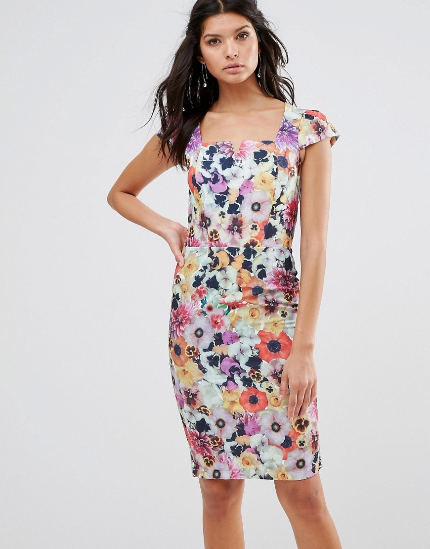 Garden Floral Pencil Dress With Capped Sleeves Print - style: shift; sleeve style: capped; fit: tight; secondary colour: lilac; predominant colour: turquoise; occasions: evening, occasion; length: on the knee; fibres: polyester/polyamide - 100%; sleeve length: short sleeve; neckline: medium square neck; pattern type: fabric; pattern size: standard; pattern: florals; texture group: woven light midweight; multicoloured: multicoloured; season: s/s 2016