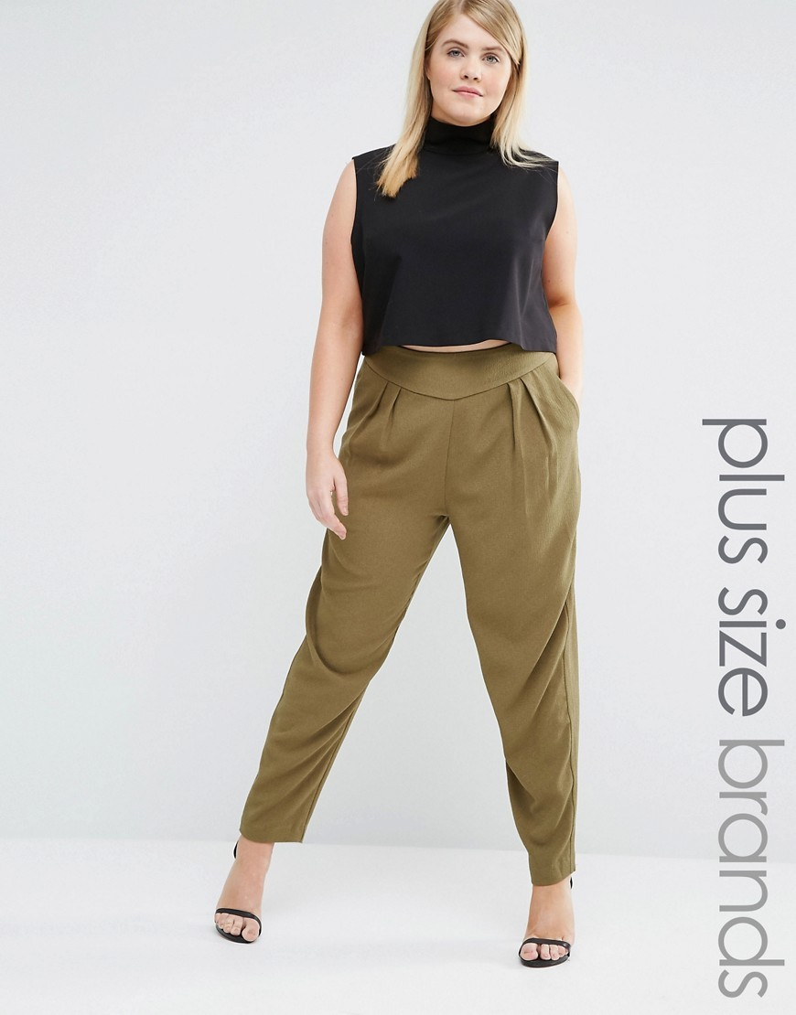Tapered Trousers Green - length: standard; pattern: plain; style: peg leg; waist: high rise; predominant colour: khaki; occasions: casual, creative work; fibres: polyester/polyamide - 100%; fit: tapered; pattern type: fabric; texture group: woven light midweight; season: s/s 2016; wardrobe: basic