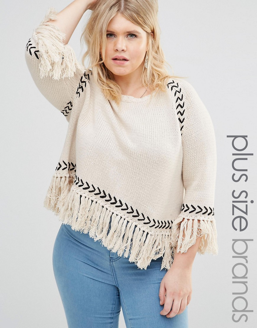 Jumper With Contrast Knit Detail And Tassel Hem Cream - neckline: round neck; style: standard; predominant colour: ivory/cream; secondary colour: black; occasions: casual, creative work; length: standard; fibres: cotton - mix; fit: loose; sleeve length: 3/4 length; sleeve style: standard; texture group: knits/crochet; pattern type: knitted - fine stitch; pattern: patterned/print; embellishment: fringing; season: s/s 2016; wardrobe: highlight; embellishment location: hem, sleeve/cuff