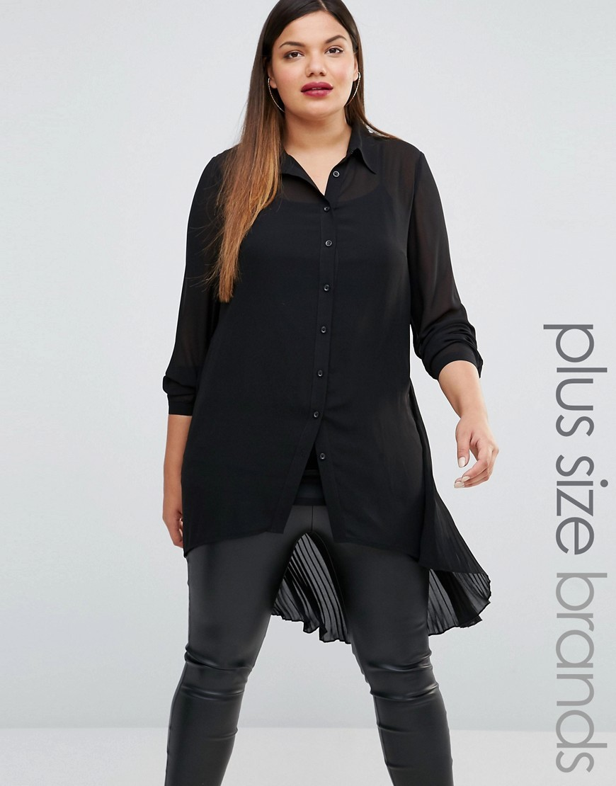 Longline Sheer Lace Shirt Black - neckline: shirt collar/peter pan/zip with opening; pattern: plain; length: below the bottom; style: shirt; predominant colour: black; occasions: casual, creative work; fibres: polyester/polyamide - 100%; fit: loose; back detail: longer hem at back than at front; sleeve length: 3/4 length; sleeve style: standard; texture group: sheer fabrics/chiffon/organza etc.; pattern type: fabric; season: s/s 2016