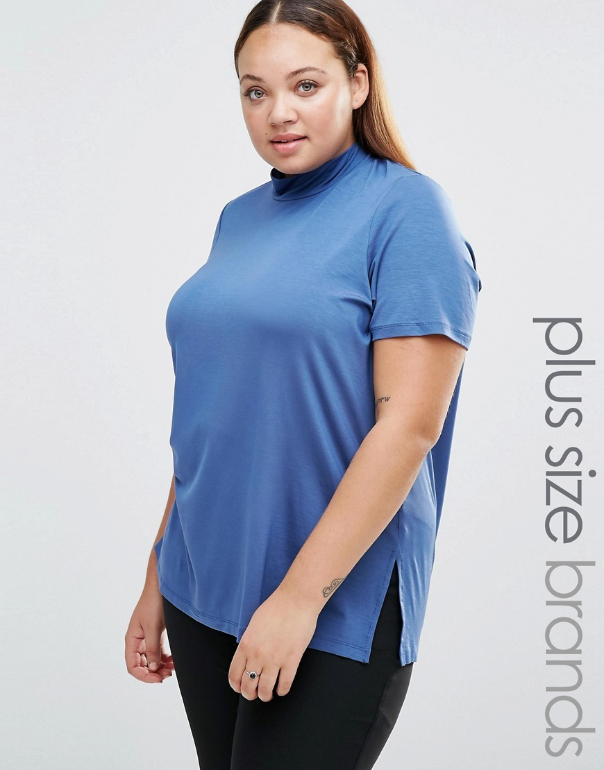 Bella Top With Funnel Neck True Navy - pattern: plain; neckline: high neck; length: below the bottom; style: t-shirt; predominant colour: royal blue; occasions: casual, creative work; fibres: viscose/rayon - stretch; fit: body skimming; sleeve length: short sleeve; sleeve style: standard; pattern type: fabric; texture group: jersey - stretchy/drapey; season: s/s 2016; wardrobe: highlight