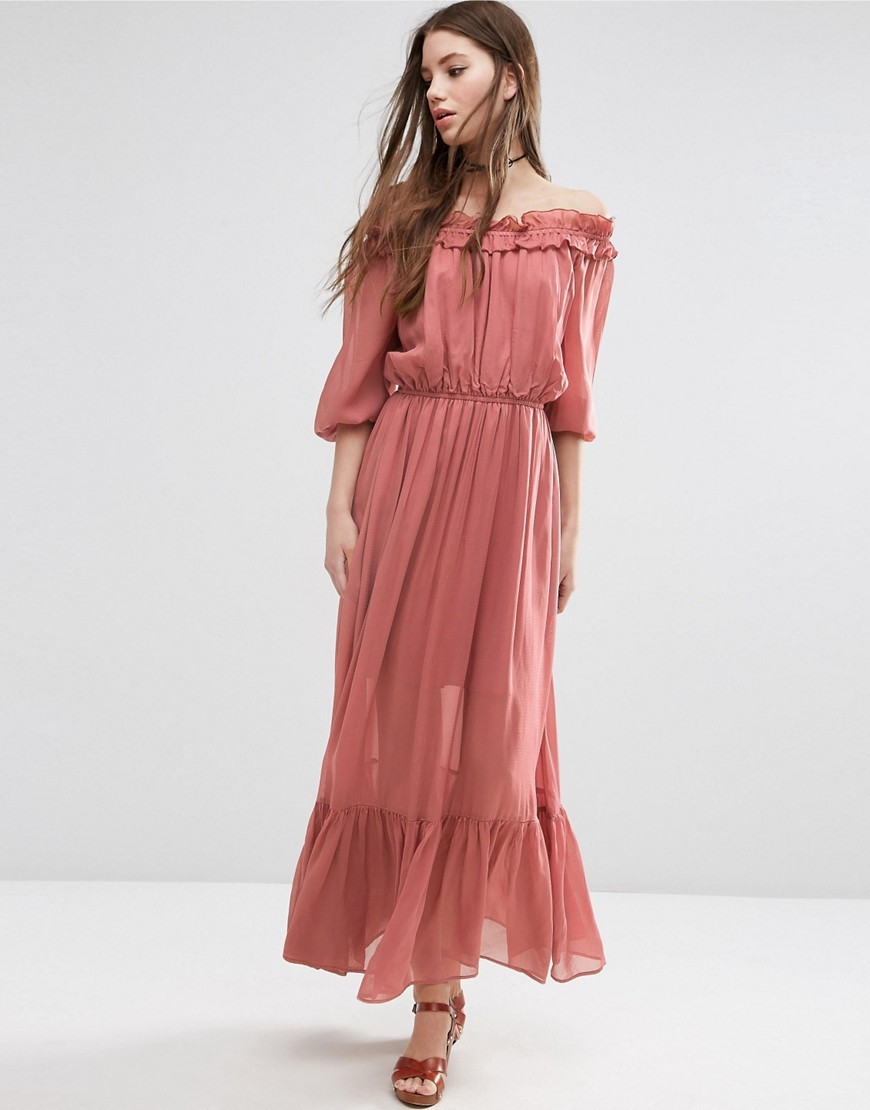Off Shoulder Maxi Dress With Frill Tiers Pink - neckline: off the shoulder; pattern: plain; style: maxi dress; length: ankle length; predominant colour: pink; occasions: casual; fit: body skimming; fibres: viscose/rayon - 100%; sleeve length: half sleeve; sleeve style: standard; texture group: sheer fabrics/chiffon/organza etc.; pattern type: fabric; season: s/s 2016; wardrobe: highlight