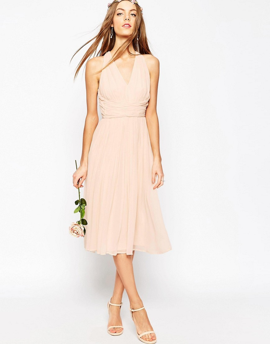 Wedding Hollywood Midi Dress Blush - length: below the knee; neckline: v-neck; pattern: plain; sleeve style: sleeveless; predominant colour: blush; occasions: evening; fit: fitted at waist & bust; style: fit & flare; fibres: viscose/rayon - 100%; sleeve length: sleeveless; texture group: sheer fabrics/chiffon/organza etc.; pattern type: fabric; season: s/s 2016; wardrobe: event