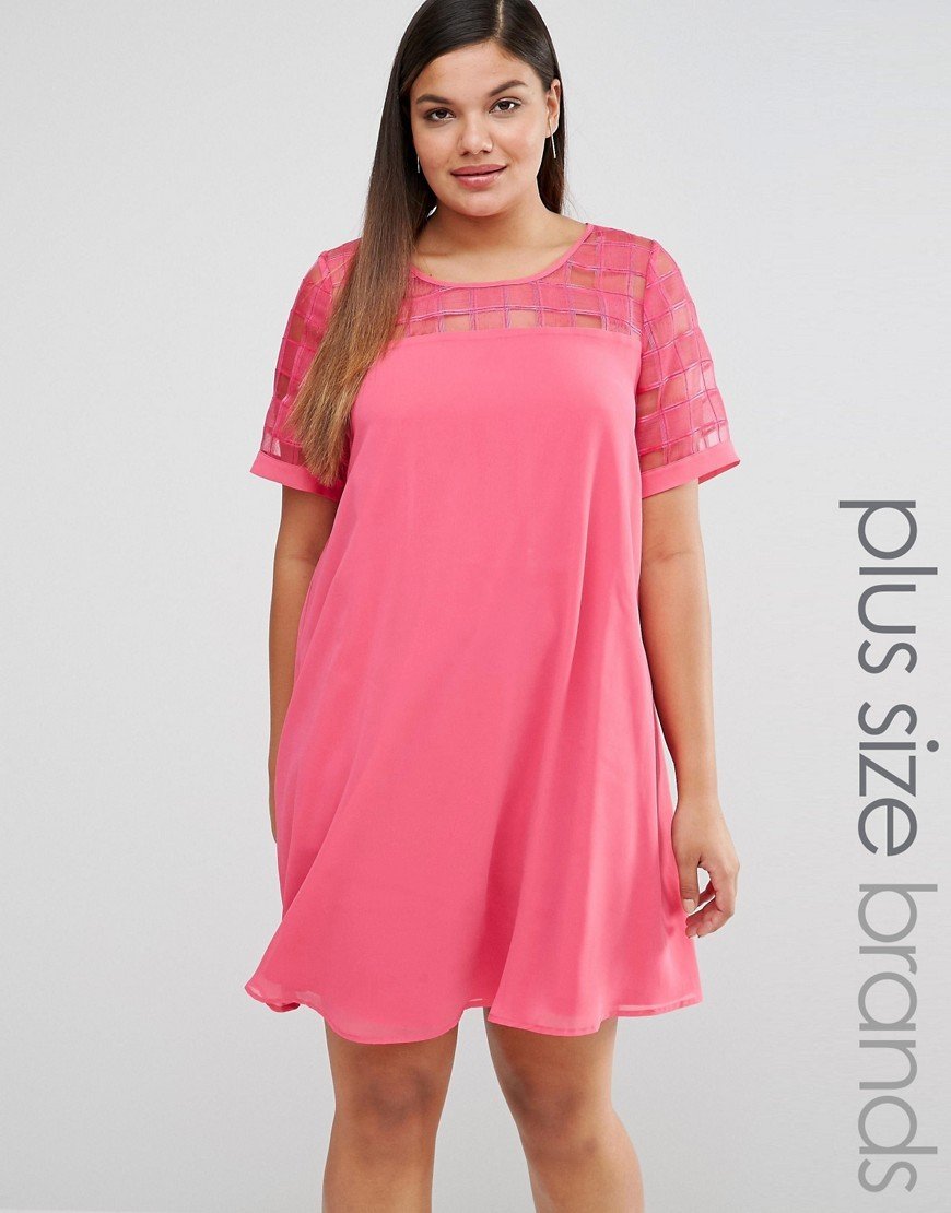 Mesh Insert Shift Dress Pink - style: trapeze; fit: loose; pattern: plain; bust detail: sheer at bust; predominant colour: pink; occasions: evening; length: just above the knee; fibres: polyester/polyamide - 100%; neckline: crew; sleeve length: short sleeve; sleeve style: standard; pattern type: fabric; texture group: other - light to midweight; embellishment: lace; season: s/s 2016; wardrobe: event